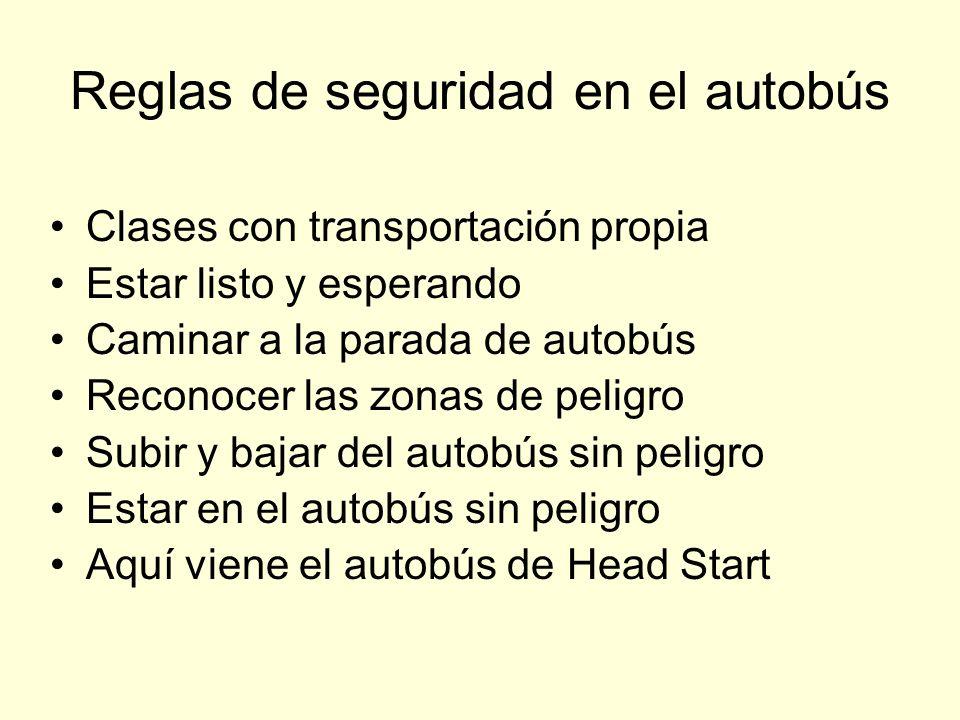 Reglas de seguridad en el autobús Clases con transportación propia Estar listo y esperando Caminar a la parada de autobús Reconocer las zonas de pelig