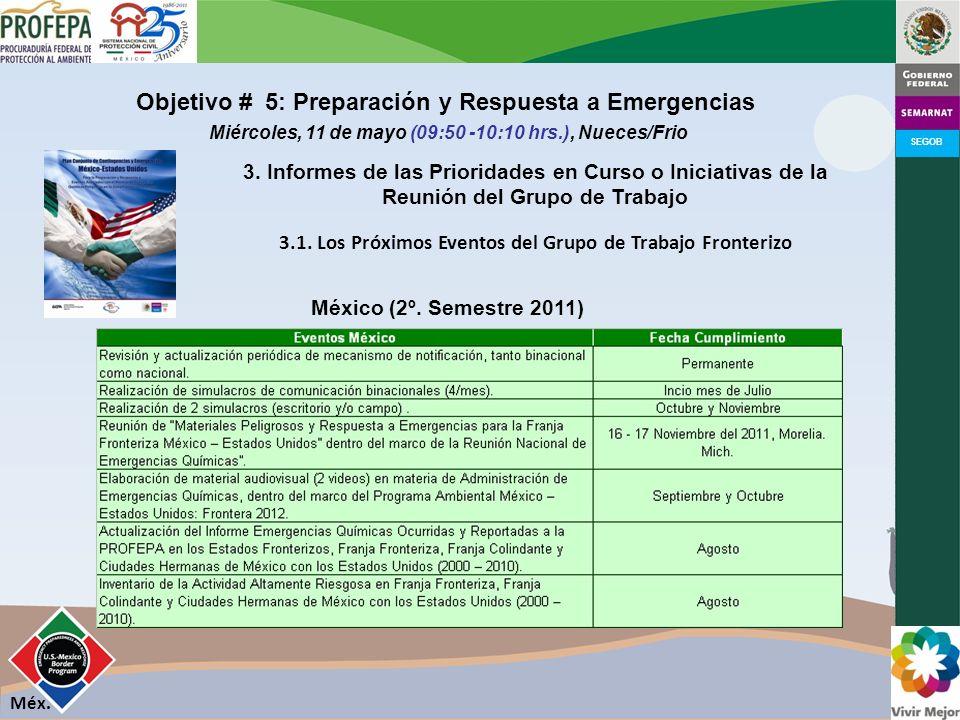 SEGOB Objetivo # 5: Preparación y Respuesta a Emergencias Miércoles, 11 de mayo (09:50 -10:10 hrs.), Nueces/Frio 3.