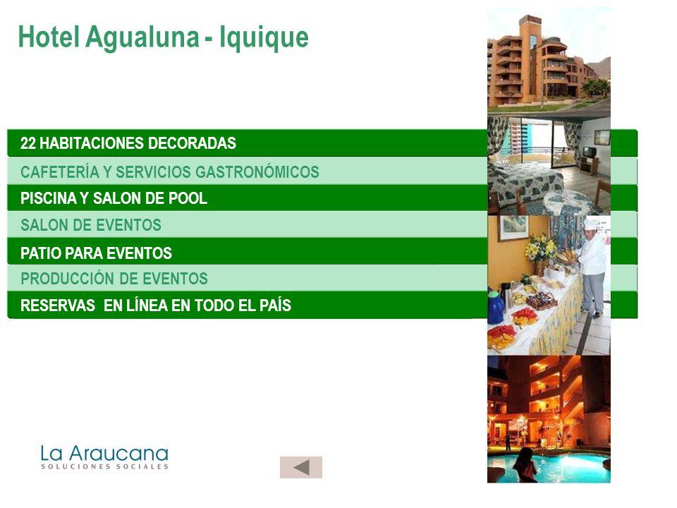 22 HABITACIONES DECORADAS CAFETERÍA Y SERVICIOS GASTRONÓMICOS PISCINA Y SALON DE POOL SALON DE EVENTOS PATIO PARA EVENTOS PRODUCCIÓN DE EVENTOS RESERVAS EN LÍNEA EN TODO EL PAÍS Hotel Agualuna - Iquique
