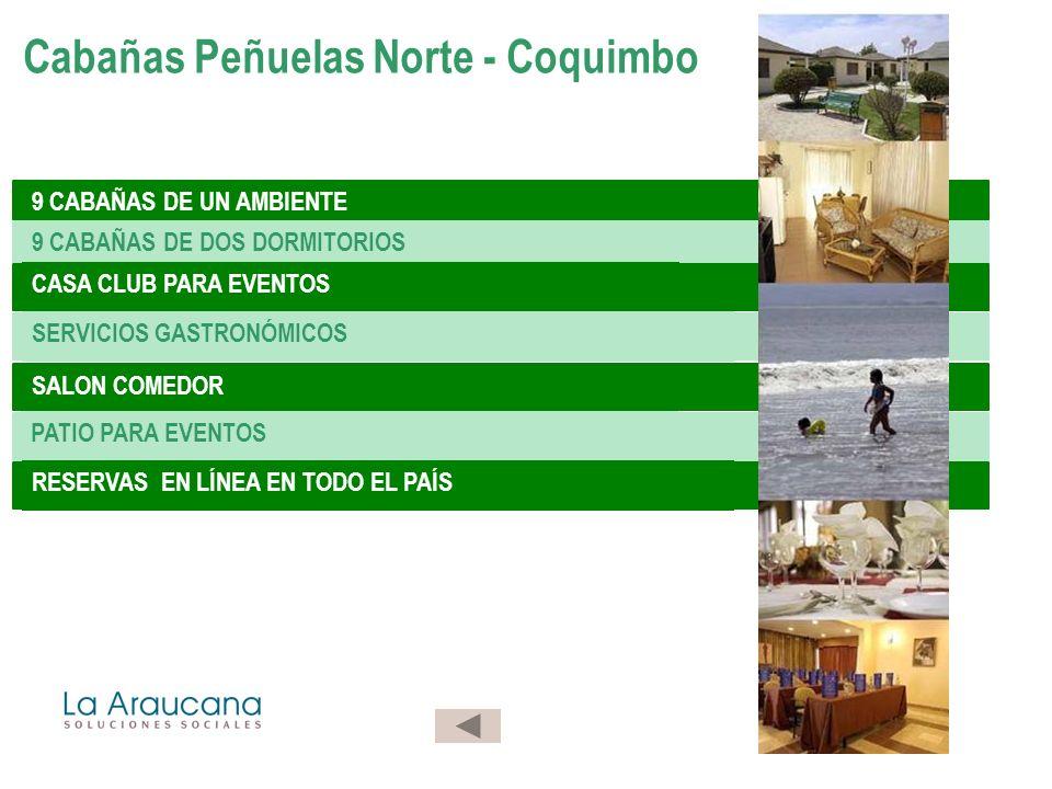 9 CABAÑAS DE UN AMBIENTE 9 CABAÑAS DE DOS DORMITORIOS CASA CLUB PARA EVENTOS SERVICIOS GASTRONÓMICOS SALON COMEDOR PATIO PARA EVENTOS RESERVAS EN LÍNEA EN TODO EL PAÍS Cabañas Peñuelas Norte - Coquimbo