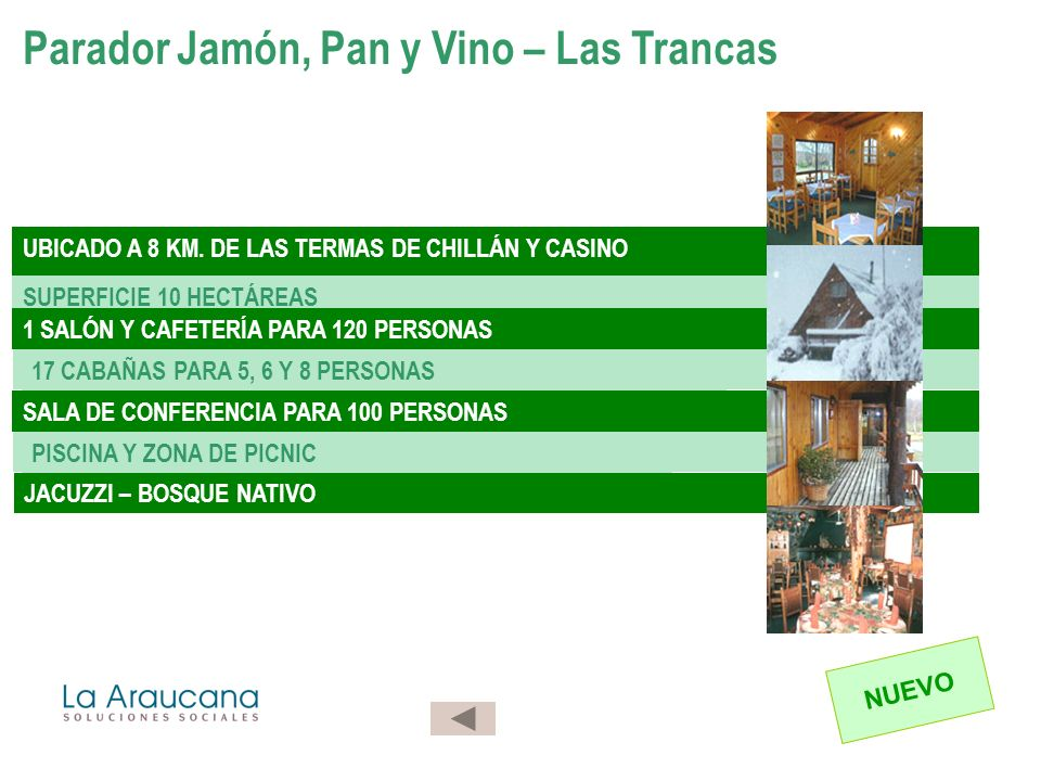 Parador Jamón, Pan y Vino – Las Trancas UBICADO A 8 KM. DE LAS TERMAS DE CHILLÁN Y CASINO SUPERFICIE 10 HECTÁREAS 1 SALÓN Y CAFETERÍA PARA 120 PERSONA