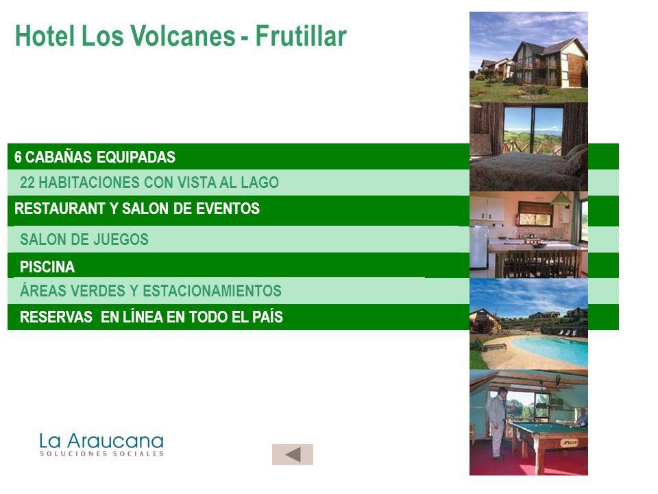6 CABAÑAS EQUIPADAS 22 HABITACIONES CON VISTA AL LAGO RESTAURANT Y SALON DE EVENTOS SALON DE JUEGOS PISCINA ÁREAS VERDES Y ESTACIONAMIENTOS RESERVAS EN LÍNEA EN TODO EL PAÍS Hotel Los Volcanes - Frutillar