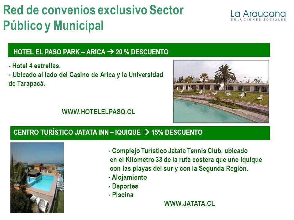 HOTEL EL PASO PARK – ARICA 20 % DESCUENTO Red de convenios exclusivo Sector Público y Municipal - Hotel 4 estrellas. - Ubicado al lado del Casino de A