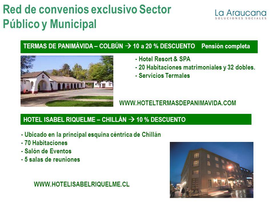 TERMAS DE PANIMÁVIDA – COLBÚN 10 a 20 % DESCUENTO Pensión completa - Hotel Resort & SPA - 20 Habitaciones matrimoniales y 32 dobles.