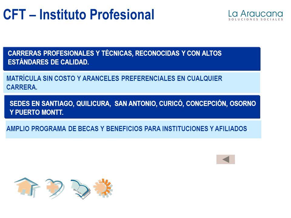 CFT – Instituto Profesional MATRÍCULA SIN COSTO Y ARANCELES PREFERENCIALES EN CUALQUIER CARRERA. CARRERAS PROFESIONALES Y TÉCNICAS, RECONOCIDAS Y CON