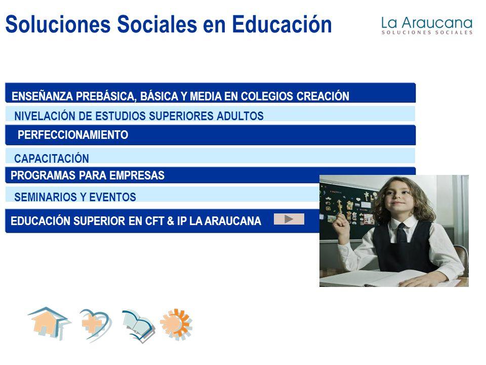 Soluciones Sociales en Educación EDUCACIÓN SUPERIOR EN CFT & IP LA ARAUCANA NIVELACIÓN DE ESTUDIOS SUPERIORES ADULTOS CAPACITACIÓNSEMINARIOS Y EVENTOS PROGRAMAS PARA EMPRESAS ENSEÑANZA PREBÁSICA, BÁSICA Y MEDIA EN COLEGIOS CREACIÓN PERFECCIONAMIENTO