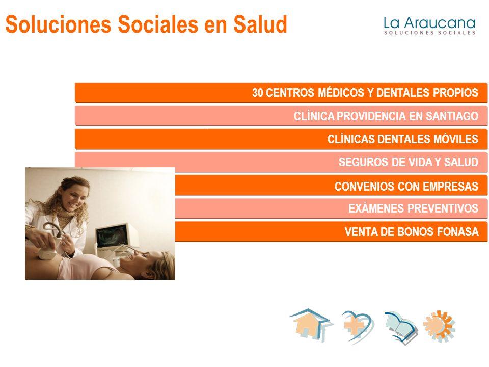 Soluciones Sociales en Salud 30 CENTROS MÉDICOS Y DENTALES PROPIOS CLÍNICA PROVIDENCIA EN SANTIAGO CLÍNICAS DENTALES MÓVILES SEGUROS DE VIDA Y SALUD CONVENIOS CON EMPRESAS EXÁMENES PREVENTIVOS VENTA DE BONOS FONASA