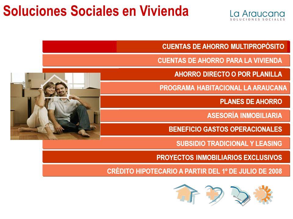 Soluciones Sociales en Vivienda CUENTAS DE AHORRO MULTIPROPÓSITO CUENTAS DE AHORRO PARA LA VIVIENDA AHORRO DIRECTO O POR PLANILLA PROGRAMA HABITACIONAL LA ARAUCANA PLANES DE AHORRO ASESORÍA INMOBILIARIA BENEFICIO GASTOS OPERACIONALES SUBSIDIO TRADICIONAL Y LEASING PROYECTOS INMOBILIARIOS EXCLUSIVOS CRÉDITO HIPOTECARIO A PARTIR DEL 1º DE JULIO DE 2008