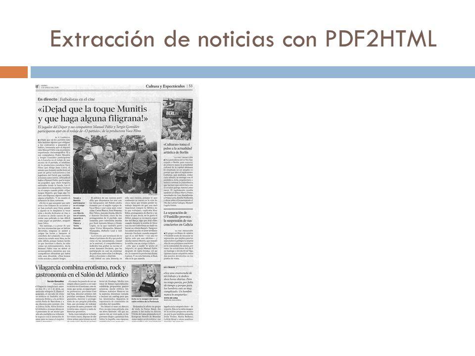 Extracción de noticias con PDF2HTML