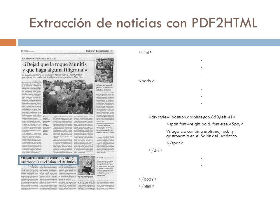 Extracción de noticias con PDF2HTML..