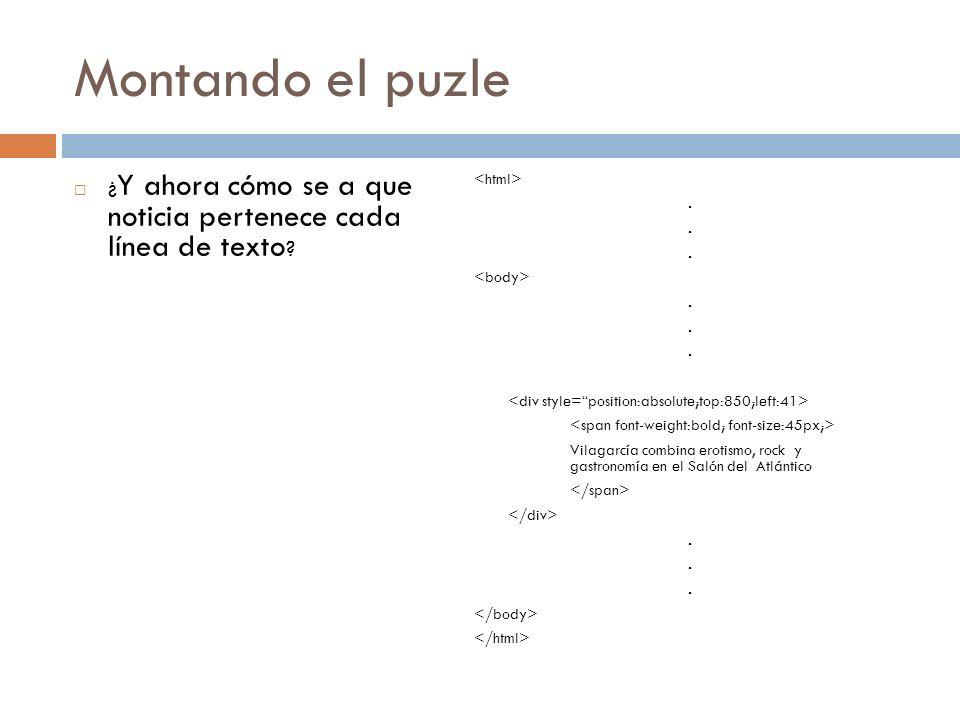 Montando el puzle ¿ Y ahora cómo se a que noticia pertenece cada línea de texto ?..