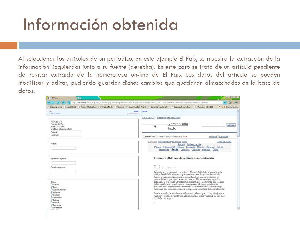 Al seleccionar los artículos de un periódico, en este ejemplo El País, se muestra la extracción de la información (izquierda) junto a su fuente (derecha).