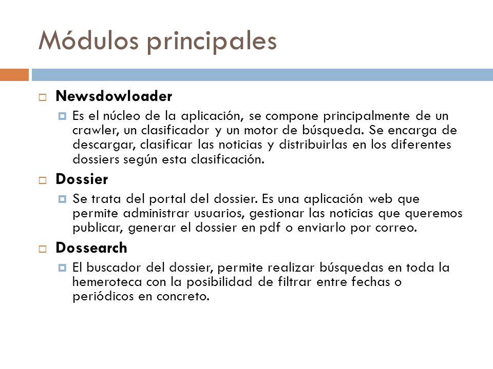 Módulos principales Newsdowloader Es el núcleo de la aplicación, se compone principalmente de un crawler, un clasificador y un motor de búsqueda.