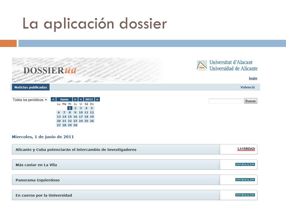 La aplicación dossier