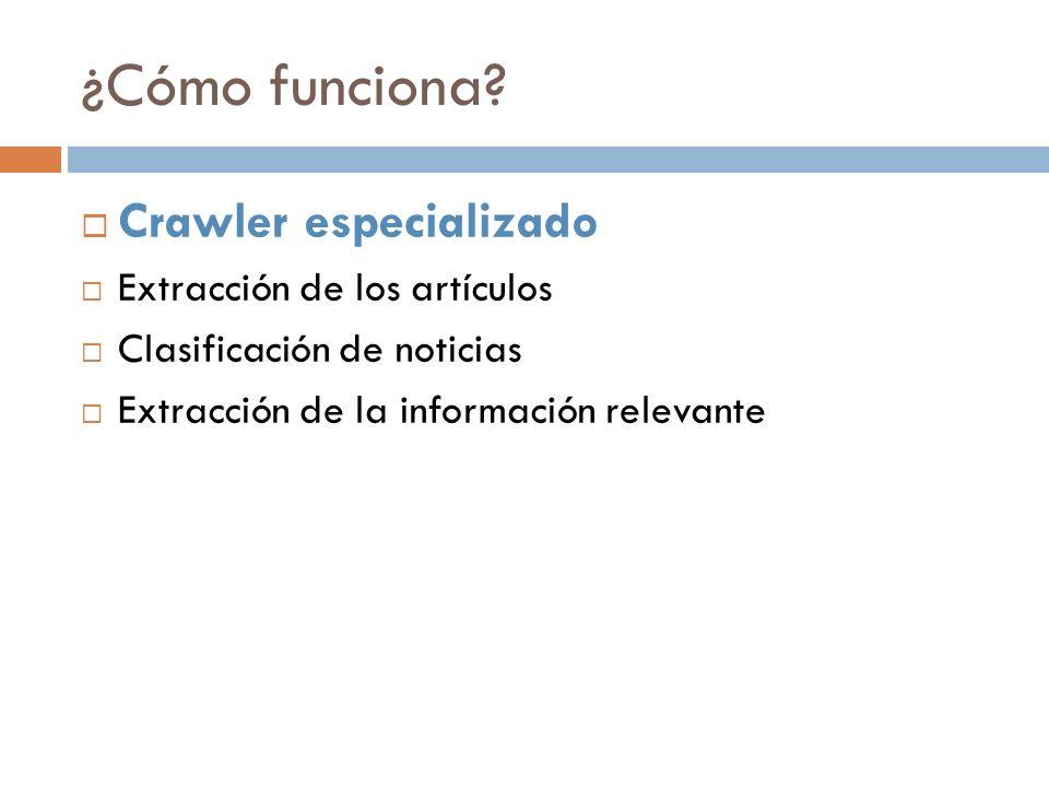 Crawler especializado Utiliza webUtils, una librería que facilita las tareas de navegación y descarga web.