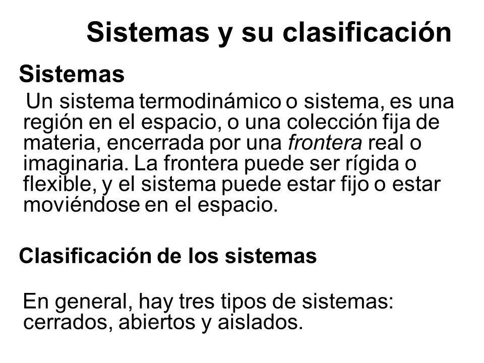 Sistemas y su clasificación Sistemas Un sistema termodinámico o sistema, es una región en el espacio, o una colección fija de materia, encerrada por u