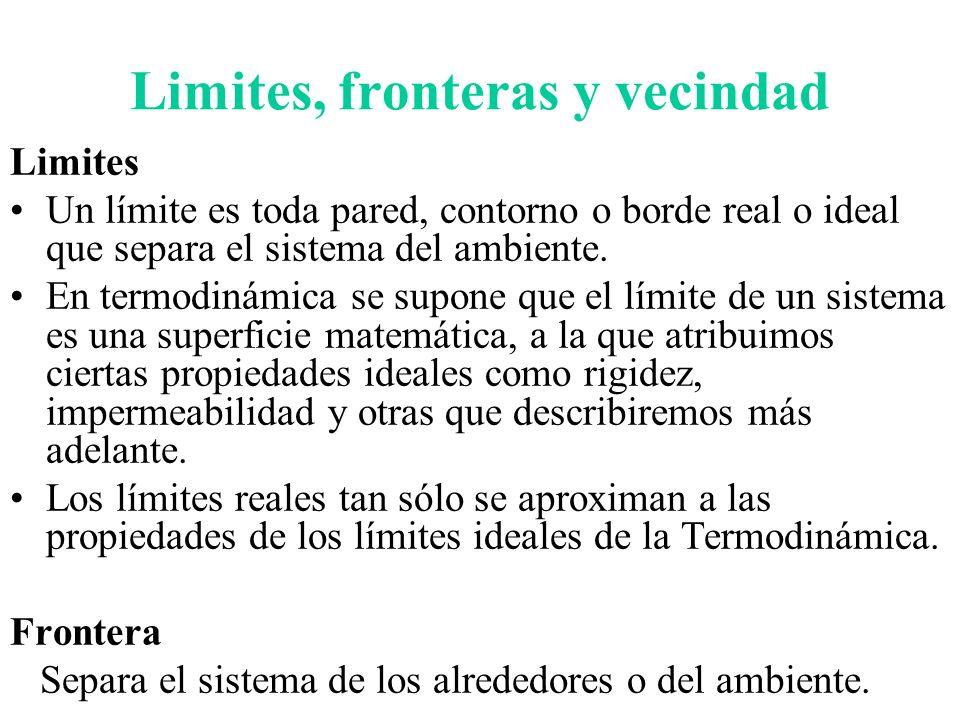 Limites, fronteras y vecindad Limites Un límite es toda pared, contorno o borde real o ideal que separa el sistema del ambiente. En termodinámica se s