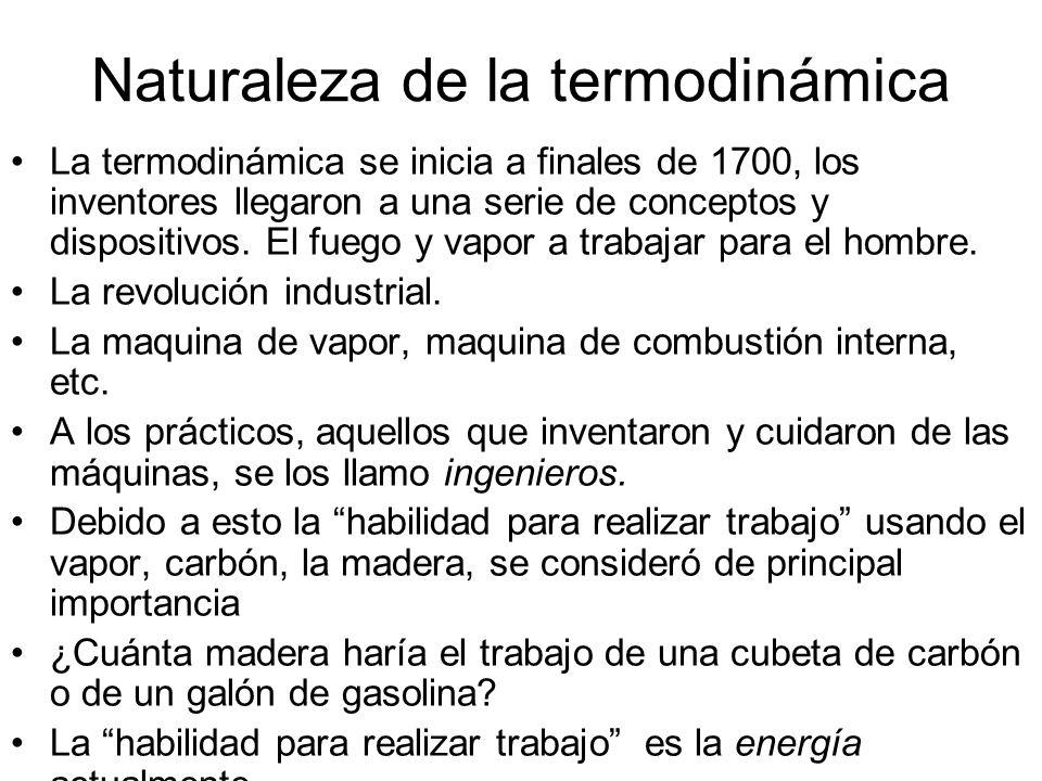 Naturaleza de la termodinámica La termodinámica se inicia a finales de 1700, los inventores llegaron a una serie de conceptos y dispositivos. El fuego