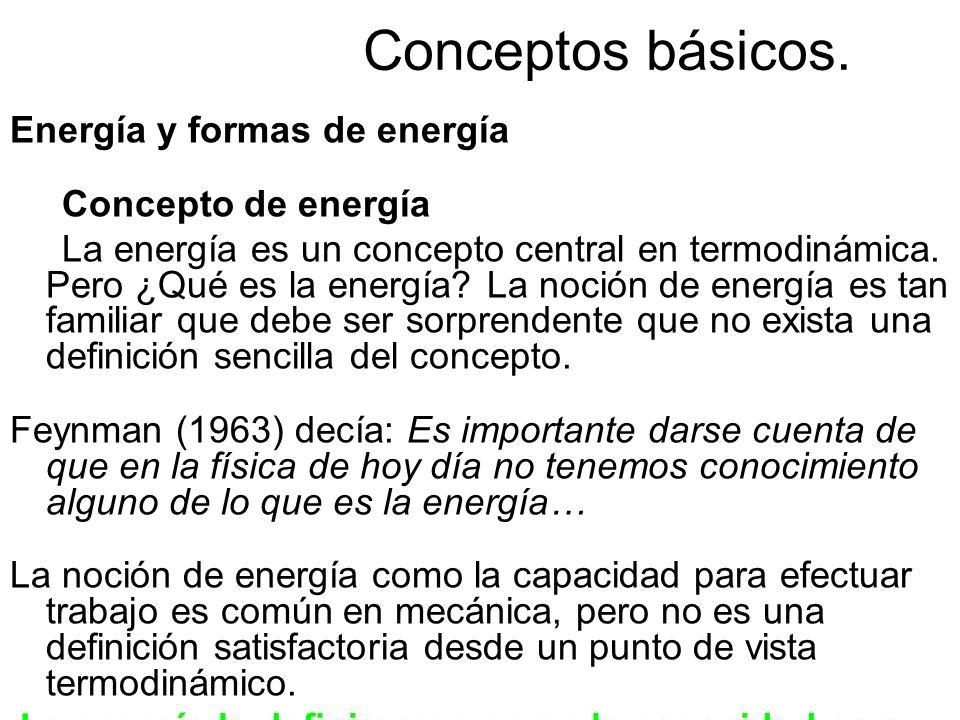 Conceptos básicos. Energía y formas de energía Concepto de energía La energía es un concepto central en termodinámica. Pero ¿Qué es la energía? La noc