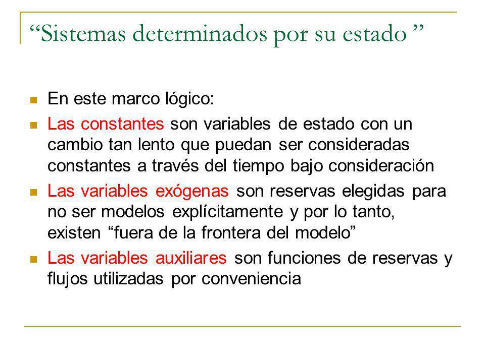 Sistemas determinados por su estado En este marco lógico: Las constantes son variables de estado con un cambio tan lento que puedan ser consideradas c