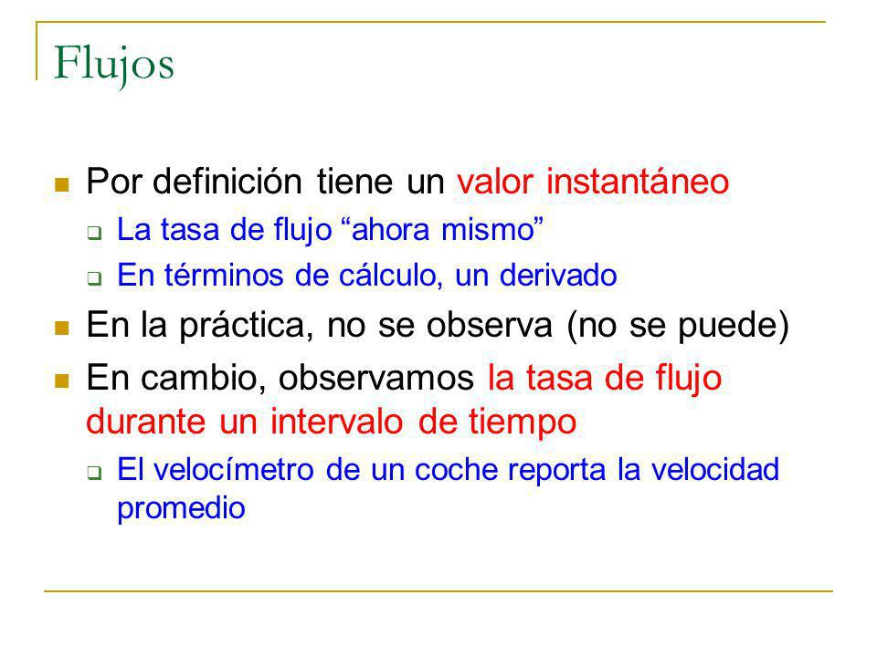 Flujos Por definición tiene un valor instantáneo La tasa de flujo ahora mismo En términos de cálculo, un derivado En la práctica, no se observa (no se