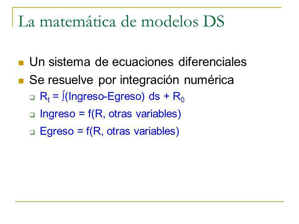 La matemática de modelos DS Un sistema de ecuaciones diferenciales Se resuelve por integración numérica R t = (Ingreso-Egreso) ds + R 0 Ingreso = f(R,