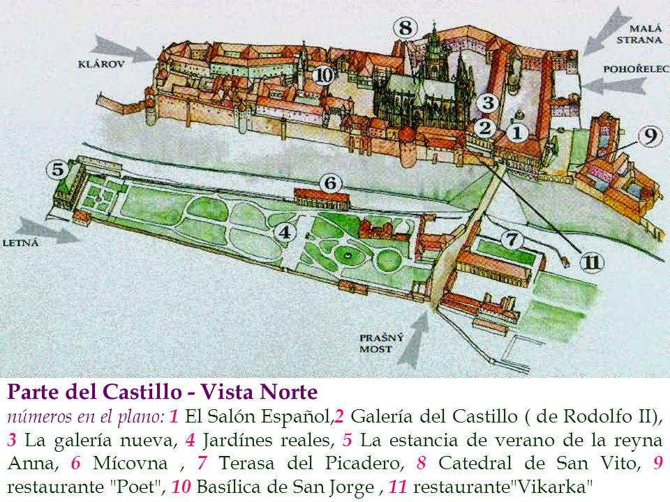Parte del Castillo - Vista Norte números en el plano: 1 El Salón Español, 2 Galería del Castillo ( de Rodolfo II), 3 La galería nueva, 4 Jardínes real