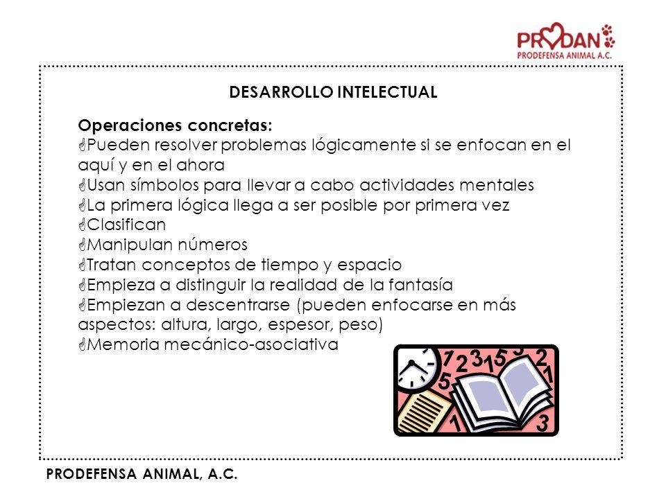 PRODEFENSA ANIMAL, A.C. DESARROLLO INTELECTUAL Operaciones concretas: GPueden resolver problemas lógicamente si se enfocan en el aquí y en el ahora GU