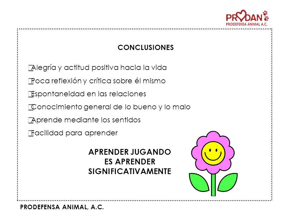 PRODEFENSA ANIMAL, A.C. Alegría y actitud positiva hacia la vida Poca reflexión y crítica sobre él mismo Espontaneidad en las relaciones Conocimiento