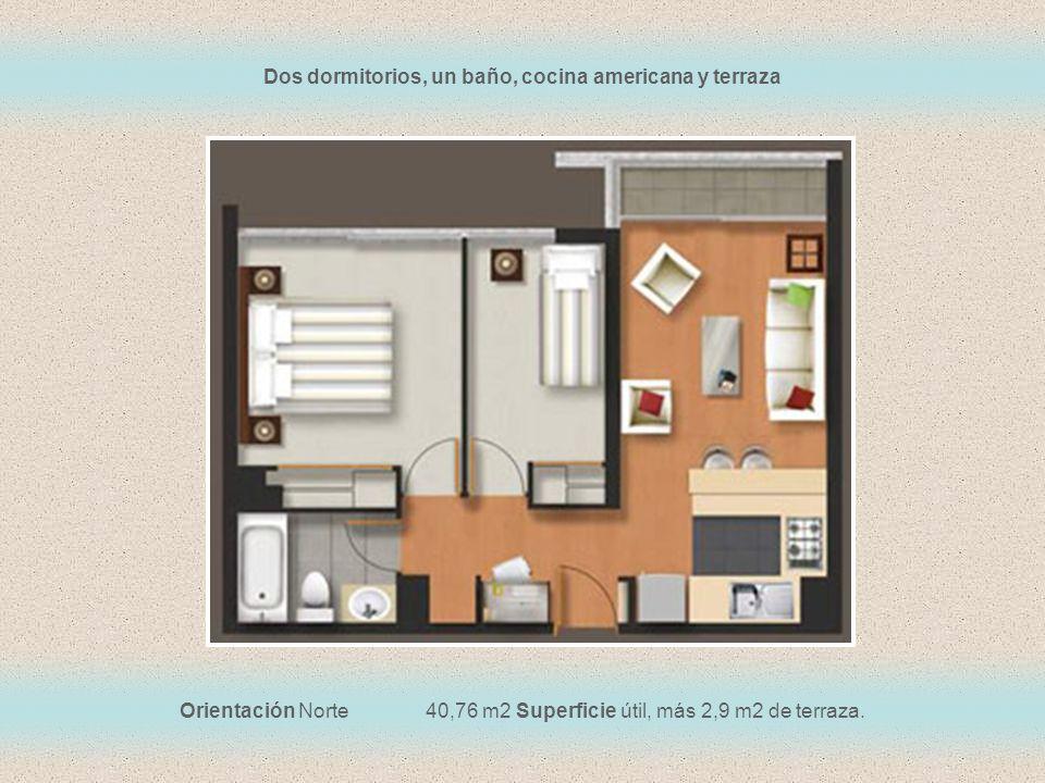 Orientación Norte 40,76 m2 Superficie útil, más 2,9 m2 de terraza. Dos dormitorios, un baño, cocina americana y terraza