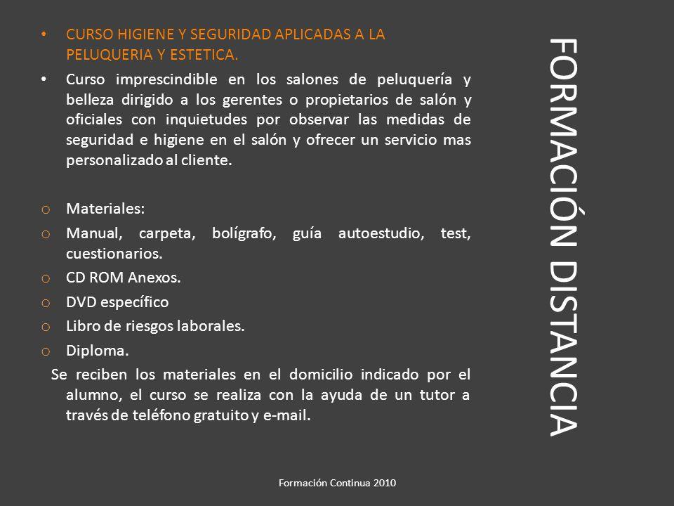 FORMACIÓN DISTANCIA CURSO DE IMAGEN PERSONAL, PROTOCOLO Y USOS SOCIALES EN LOS SALONES DE PELUQUERIA Y BELLEZA..