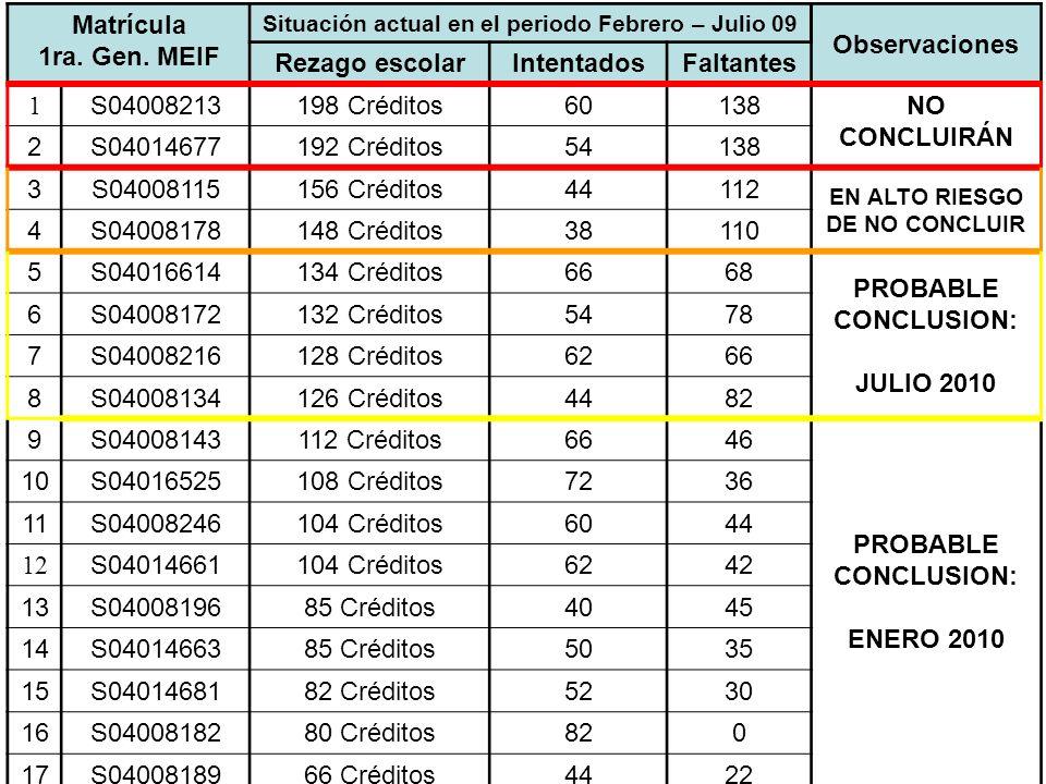 Matrícula 1ra. Gen. MEIF Situación actual en el periodo Febrero – Julio 09 Observaciones Rezago escolarIntentadosFaltantes 1 S04008213198 Créditos6013