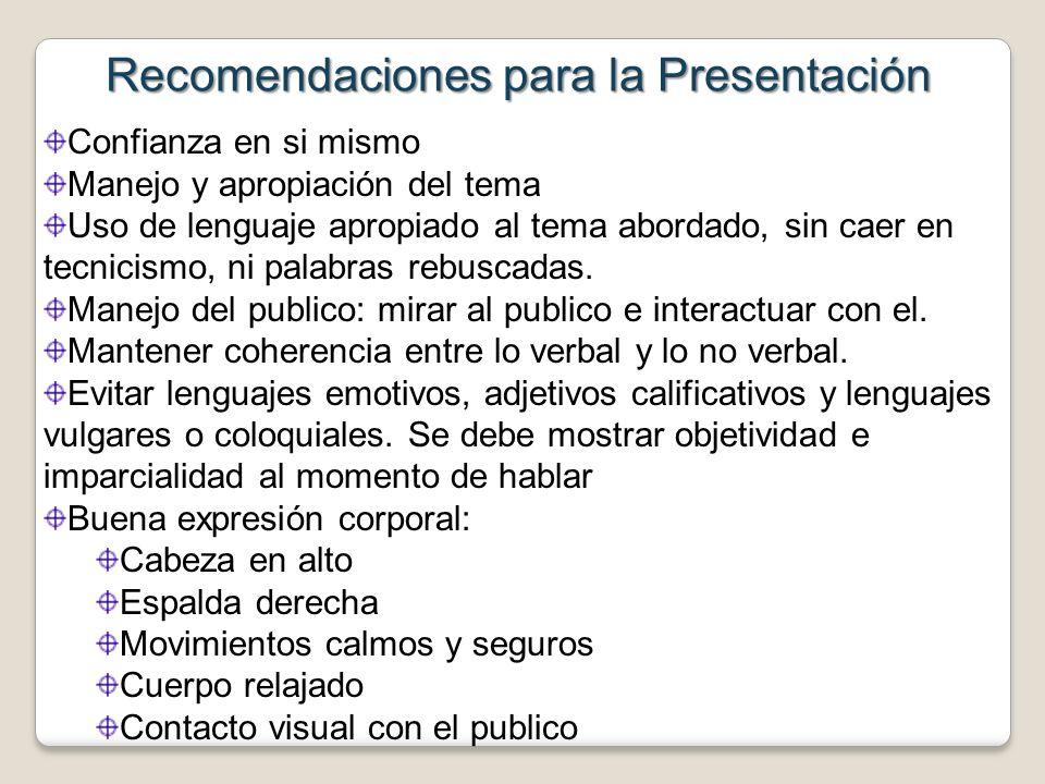 Recomendaciones para la Presentación Confianza en si mismo Manejo y apropiación del tema Uso de lenguaje apropiado al tema abordado, sin caer en tecni