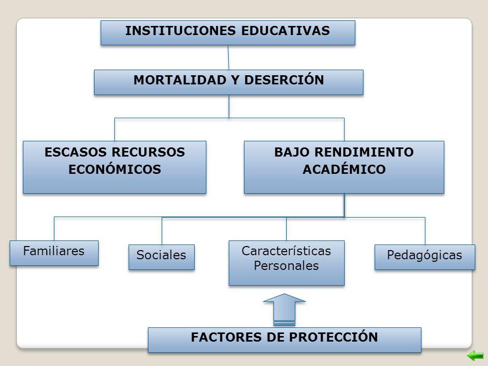 INSTITUCIONES EDUCATIVAS MORTALIDAD Y DESERCIÓN ESCASOS RECURSOS ECONÓMICOS BAJO RENDIMIENTO ACADÉMICO Familiares Características Personales FACTORES