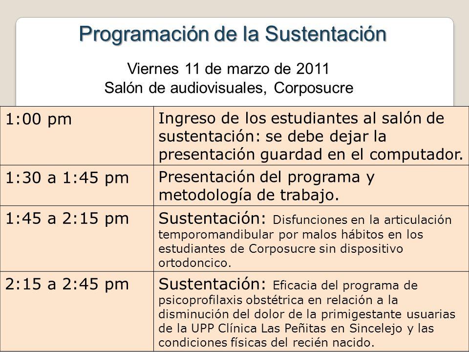 Programación de la Sustentación 1:00 pm Ingreso de los estudiantes al salón de sustentación: se debe dejar la presentación guardad en el computador. 1