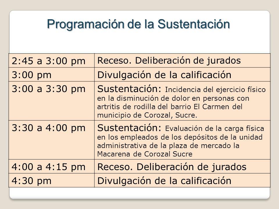 2:45 a 3:00 pm Receso. Deliberación de jurados 3:00 pmDivulgación de la calificación 3:00 a 3:30 pmSustentación: Incidencia del ejercicio físico en la