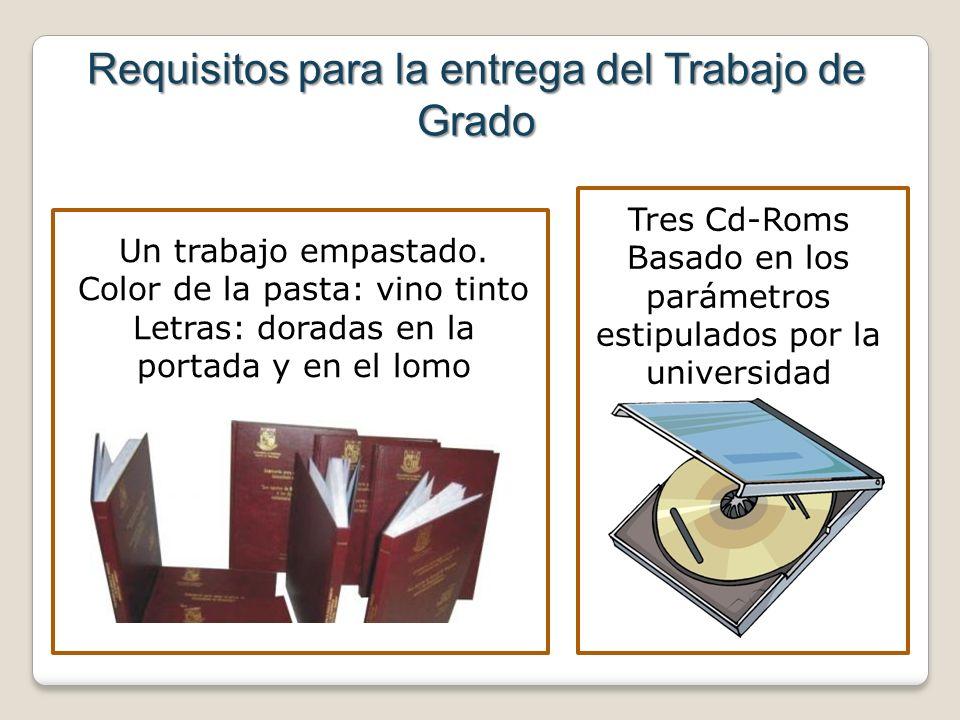 Requisitos para la entrega del Trabajo de Grado Un trabajo empastado. Color de la pasta: vino tinto Letras: doradas en la portada y en el lomo Tres Cd