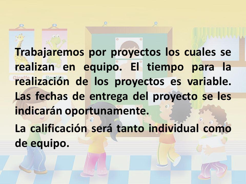 Trabajaremos por proyectos los cuales se realizan en equipo. El tiempo para la realización de los proyectos es variable. Las fechas de entrega del pro