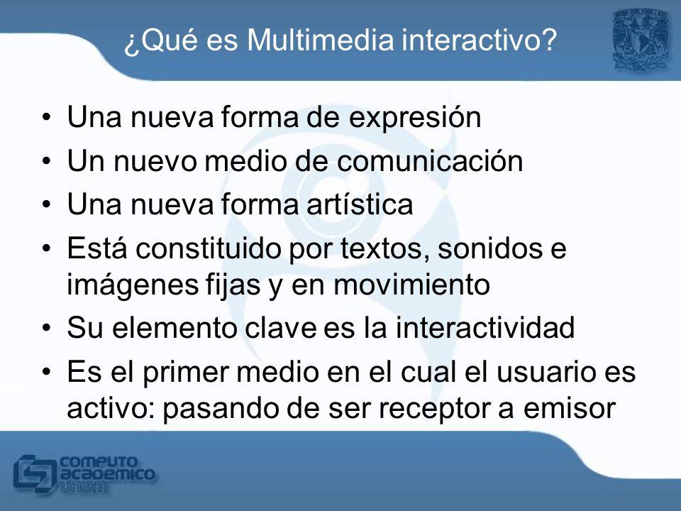Una nueva forma de expresión Un nuevo medio de comunicación Una nueva forma artística Está constituido por textos, sonidos e imágenes fijas y en movim
