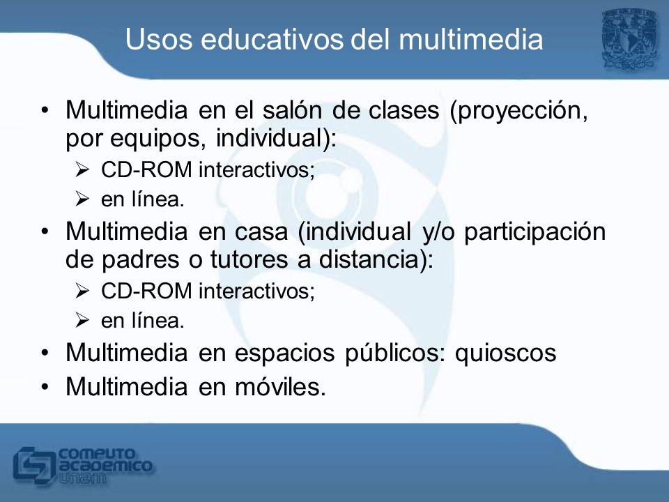 Multimedia en el salón de clases (proyección, por equipos, individual): CD-ROM interactivos; en línea. Multimedia en casa (individual y/o participació