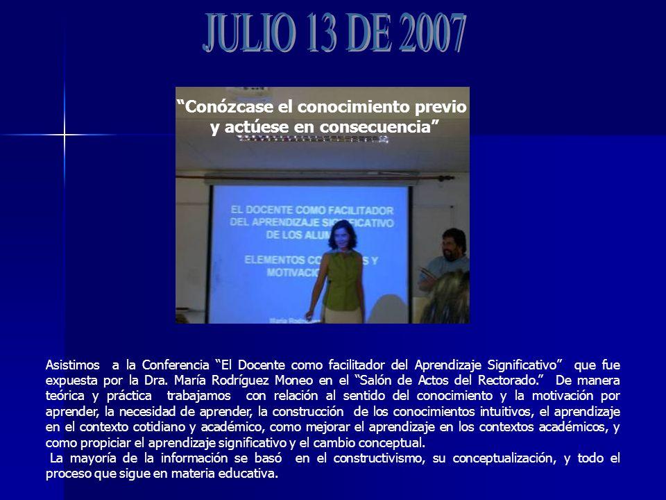 Asistimos a la Conferencia El Docente como facilitador del Aprendizaje Significativo que fue expuesta por la Dra.