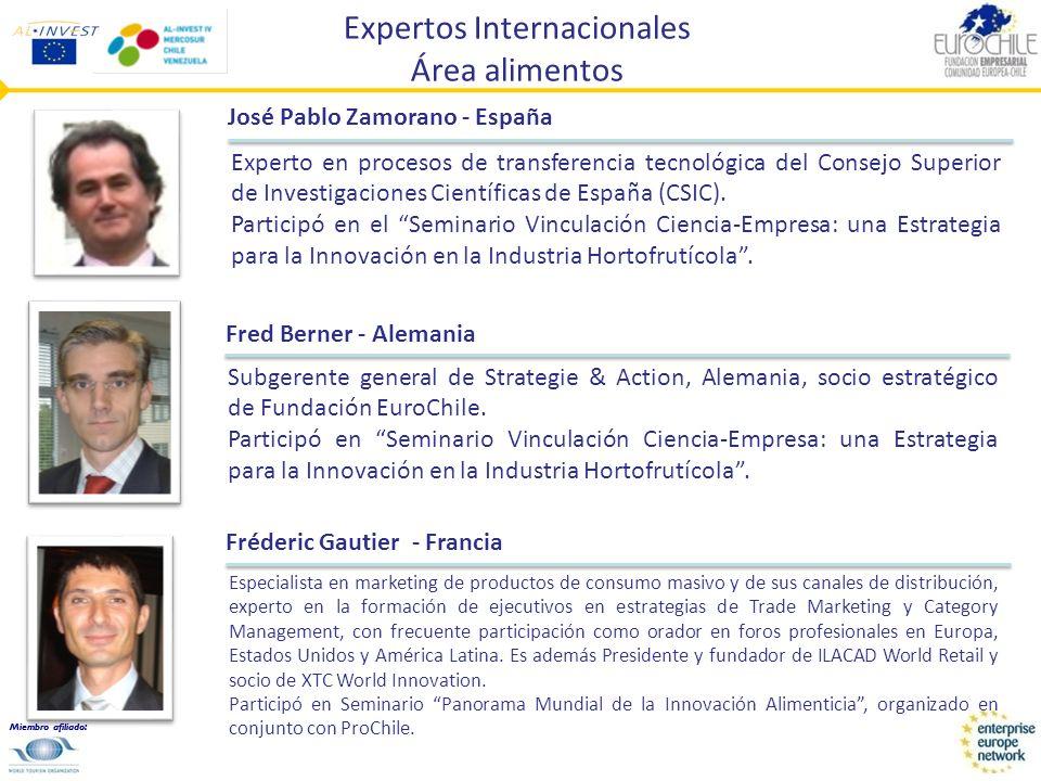 Miembro afiliado: Expertos Internacionales Área alimentos Fréderic Gautier - Francia Especialista en marketing de productos de consumo masivo y de sus