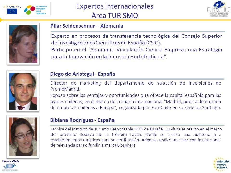 Miembro afiliado: Expertos Internacionales Área TURISMO Pilar Seidenschnur - Alemania Experto en procesos de transferencia tecnológica del Consejo Sup