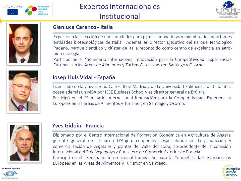 Miembro afiliado: Expertos Internacionales Institucional Gilberto Bonalumi - Italia Actual Presidente de RIAL (Red Italiana América Latina) y presidente del Comité Organizador Encuentros Italia.