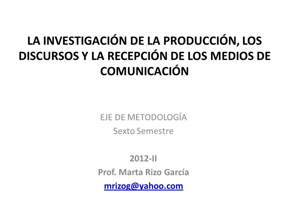 LA INVESTIGACIÓN DE LA PRODUCCIÓN, LOS DISCURSOS Y LA RECEPCIÓN DE LOS MEDIOS DE COMUNICACIÓN EJE DE METODOLOGÍA Sexto Semestre 2012-II Prof. Marta Ri