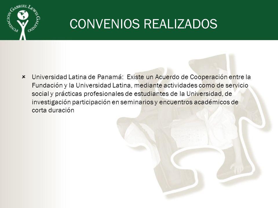 CONVENIOS REALIZADOS Universidad Latina de Panamá: Existe un Acuerdo de Cooperación entre la Fundación y la Universidad Latina, mediante actividades c