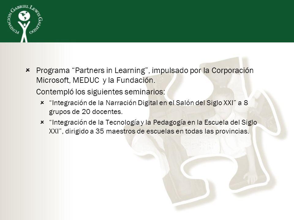 Programa Partners in Learning, impulsado por la Corporación Microsoft, MEDUC y la Fundación. Contempló los siguientes seminarios: Integración de la Na