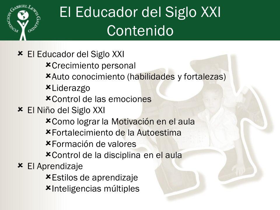 El Educador del Siglo XXI Contenido El Educador del Siglo XXI Crecimiento personal Auto conocimiento (habilidades y fortalezas) Liderazgo Control de l