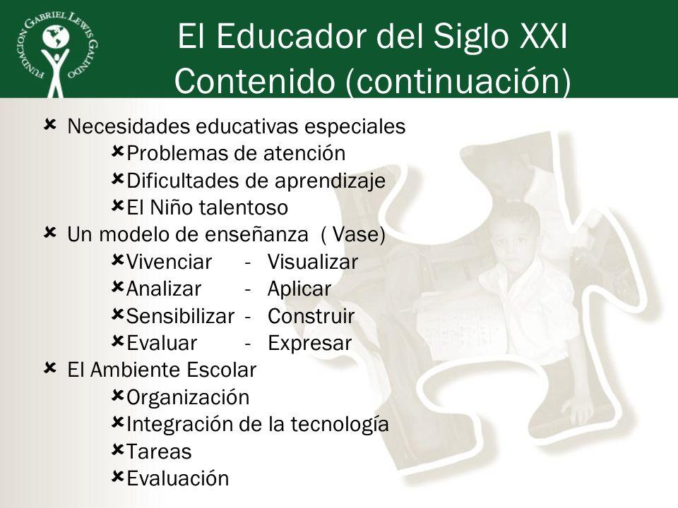 El Educador del Siglo XXI Contenido (continuación) Necesidades educativas especiales Problemas de atención Dificultades de aprendizaje El Niño talento