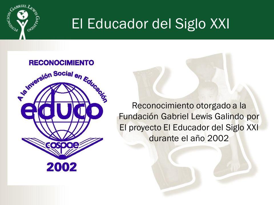 El Educador del Siglo XXI Reconocimiento otorgado a la Fundación Gabriel Lewis Galindo por El proyecto El Educador del Siglo XXI durante el año 2002